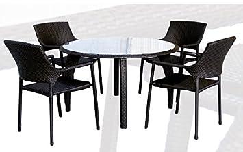 Conjunto de terraza y jardin rattan chocolate Onda mesa ...