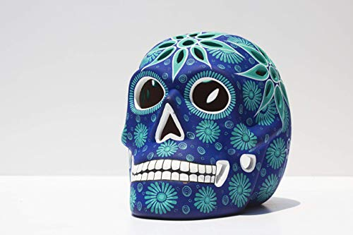 Art Skull Head - Aqua Blue - Hand made ceramic sculpture painted by Mexican Artisians- Home Decor – Skeleton Decoration - Calavera Artesanal - Skull Skeleton Head
