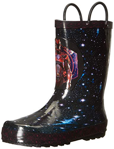 Power Rangers Boy's Rain Boots, Red Ranger Galaxy Print, Waterproof with Easy On Handles Shoe, Black, Little Kid Size 2-3 ()