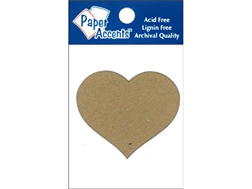Accent Design Paper Accents ADPSHAPE.114 Heart #2 Natural Chipboard Chip Shape ()