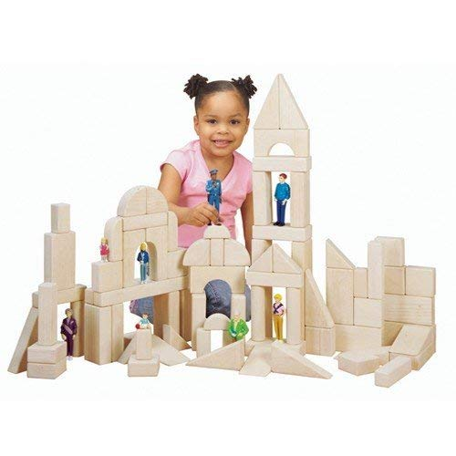 Constructive Playthings CP-U312 Classroom Wooden Unit Blocks for Kids- Super Saver 82 pc. Set in 13 Shapes