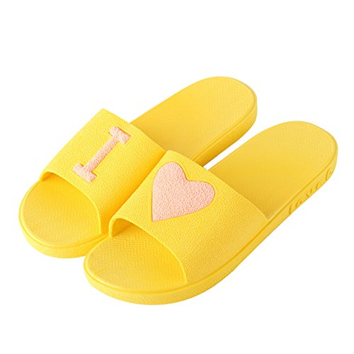 Non Shower Water Sandals for Shoes Heart Slippers House Girls amp;Women Shoes shaped Bathroom Beach Indoor slip Yellow HUPLUE xRwE6OYvq1