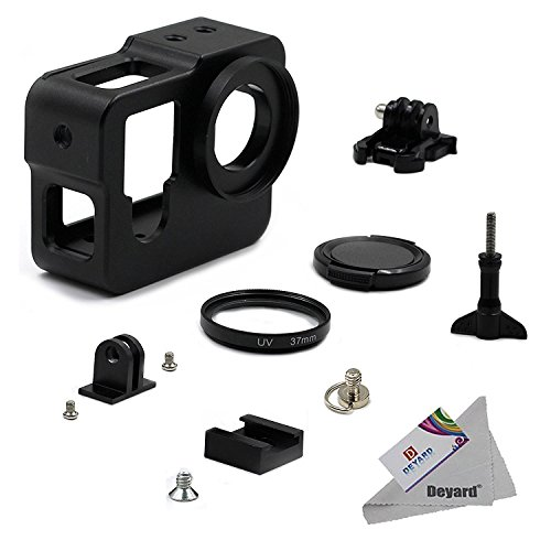 Deyard Aluminum Alloy Protective Cage Housing Frame Case with 37mm UV Lens Filter and Cap for GoPro Hero 4 and GoPro Hero 3+ Action Camera by Deyard