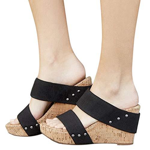Ankola Womens High Heel Wedge Sandals Open Peep Toe Roman Slippers Ankle Buckle Cushioned Strap Summer Shoes (US:6, - Black Platform Bow Pu