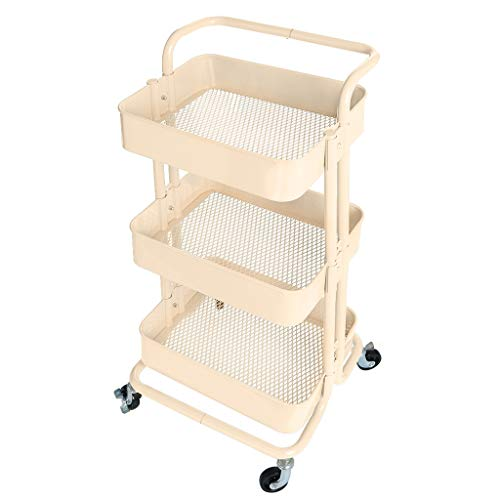 US Fast Shipment Jiayit 3-layer Metal Multi-purpose With Scroll Storage Utility Vehicle With Handle With Wheels High Capacity For Bathroom Kitchen Livingroom Bedroom from Jiayit