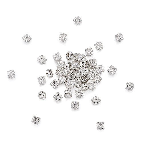 Pandahall 100pcs Sew On Montee Chaton Beads Five-holes Silver Color Acrylic Rhinestone Crystal Beads with Brass Findings Clothing DIY Embellishment 6mm ()