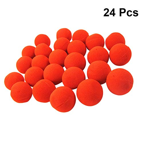 TOYANDONA 24pcs Red Nose Funny Circus Sponge Clown Noses Dress up Stage Props for Christmas Halloween Red Nose Day Birthdays Party Costume ()