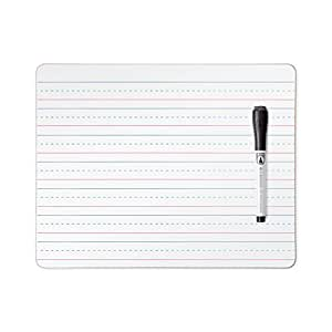 U Brands Dry Erase Lap Board, Double Sided, Ruled and Plain, 9 x 12 Inches, Dry Erase Marker Included