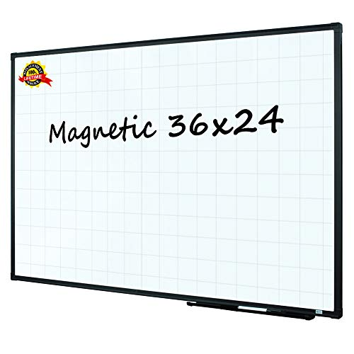 Lockways Magnetic Dry Erase Planning Board, Grid Whiteboard Planner/White Board 36 x 24 Black Aluminium Frame with Detachable Marker Tray for Office School and Home
