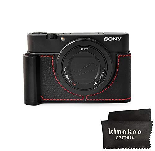 kinokoo Handle Camera Half Case for Sony RX100 RX100M2 RX100M3 RX100M4 RX100M5 RX100M6 Genuine Leather Grip Case-Black