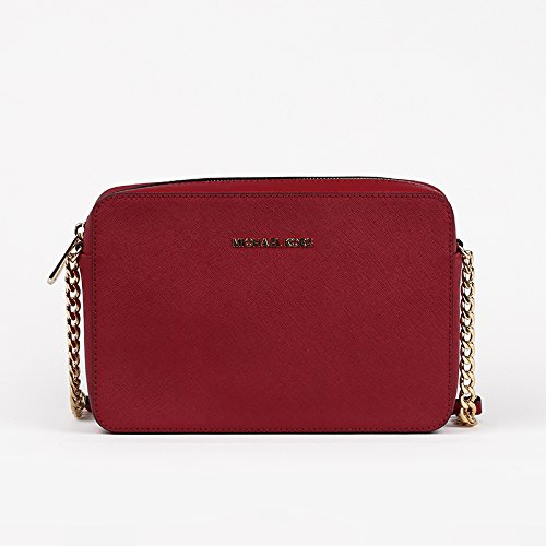 MICHAEL KORS JET SET TRAVEL LG EW CROSSBODY SAFFIANO 18K CHERRY