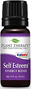 Plant Therapy Self Esteem Synergy Essential Oil Blend. 100% Pure, Undiluted, Therapeutic Grade. Blend of: Spruce, Rosewood, Blue Tansy and Frankincense. 10 ml (1/3 oz).