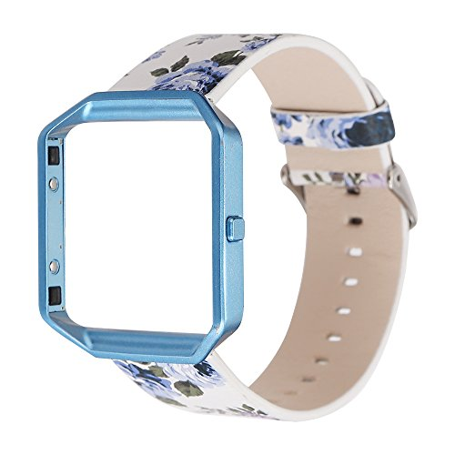 Watchband with Frame for Fitbit Blaze, Soft Leather Replacement Strap Printing Bracelet Strap for Fitbit Blaze Smart Fitness Watch (White Blue+Blue Frame)