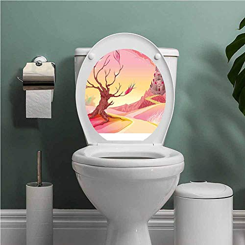 Dale Earnhardt Seat Covers - SCOCICI1588 Fantasy Toilet Seat Tattoo Cover Princess Castle on Valley and Tree Fairytale Girls Childish Cartoon Design Vinyl Bathroom Decor Yellow Pale Pink W14XL14 INCH