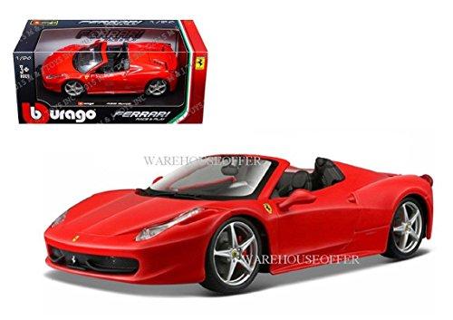 NEW 1:24 W/B BBURAGO COLLECTION - FERRARI RACE & PLAY RED FERRARI 458 SPIDER Diecast Model Car By Bburago