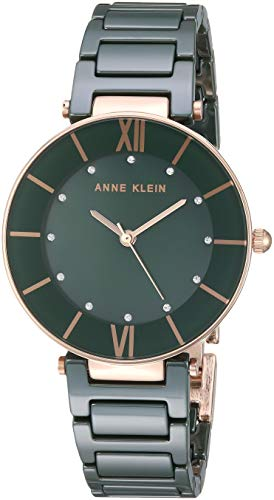 Anne Klein Women's AK/3266GNRG Swarovski Crystal Accented Rose Gold-Tone and Green Ceramic Bracelet Watch