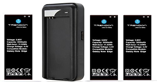Galaxy Note EDGE Battery, TrendON [3 Batteries + Charger] Samsung Galaxy Note EDGE (3X) 3000 mAh [Long Lasting] Spare Replacement Li-ion Battery Combo with Portable USB Travel Wall Charger (non-NFC) [18-Month Warranty] (For Samsung Galaxy Note EDGE Verizon, AT&T Sprint, T-mobile, Unlocked) (3 Batteries 1 Charger)