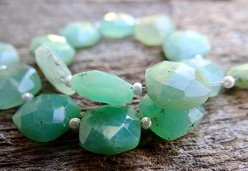 GemAbyss Beads Gemstone Shaded Ombre Green Australian Chrysoprase | Faceted Square Cushion Pillows | ~9.3x9.3mm | Sold in Matched Pairs & Shaded Sets of 8 Beads Code-MVG-32435