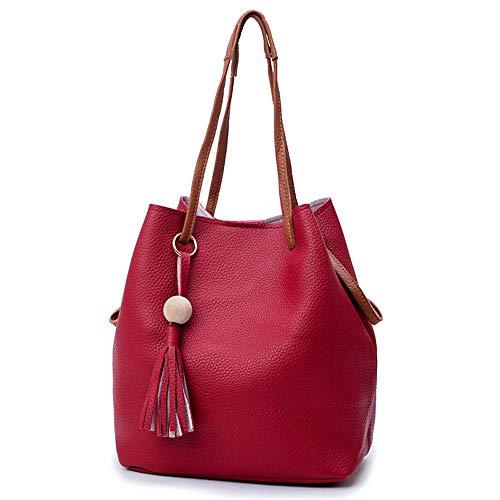 Rosso Person Handbags Bag Hand Chengzuoqing 4pcs Pu Leather Set Handbag Cosmetic Women Fashion Women rosso colore pnaqF4