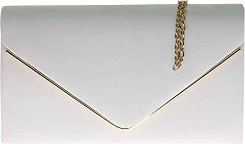 White Frame Faux amp;G Metallic Bag Nude Suede Envelope Ladies Plain Design H Clutch d78nxZfq8w