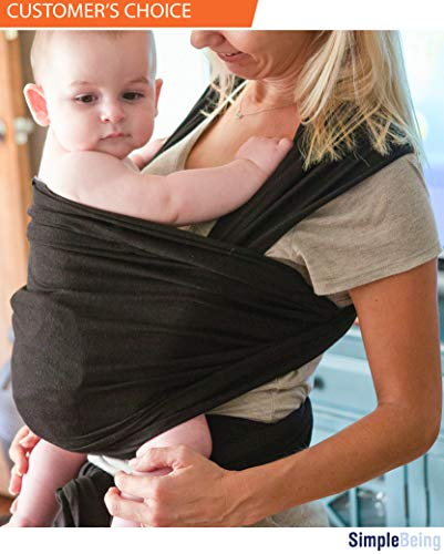Simply Life Baby Wrap Carrier - Flexible Adjustable Wrap Around Sling, Infant Carriers for Men and Women, Suitable for Newborn and Toddlers Up to 35 Lbs, Nursing Cover Swaddle Blanket - Large, Black