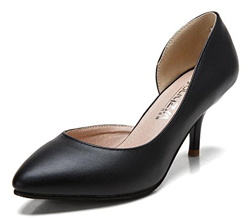 Easemax Dames Trendy Stiletto D-orsay Massief Puntige Neus Op Lage Top Mid Hoge Pumps Zwart