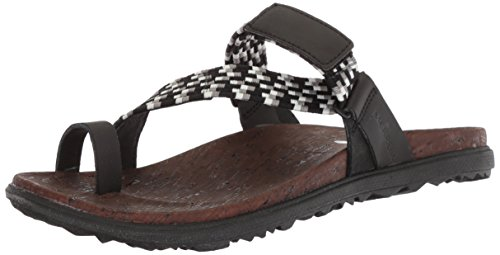 Merrell Women's Around Town Sunvue Thong Woven Sandal, Black, 9 Medium US
