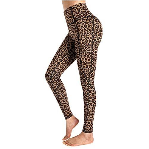 YUYOGAP Dames Yoga Broekzakken Luipaardprint Hoge Taille Workout Leggings Hardloopbroek