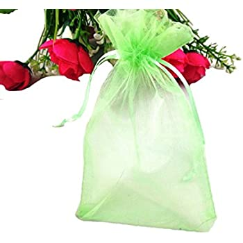 """SumDirect 100Pcs 4""""x6"""" Sheer Drawstring Organza Jewelry Pouches Wedding Party Christmas Favor Gift Bags (Green)"""