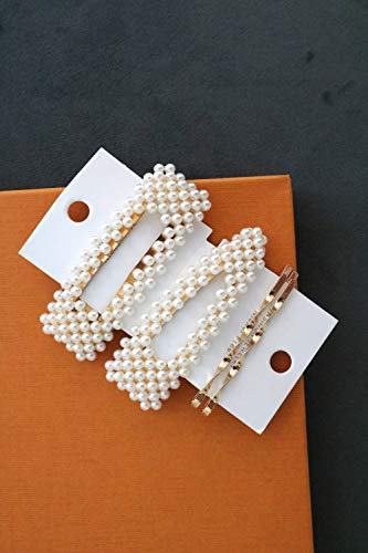 Heart Felt Love Large Pearl Hair Clips and Barrettes - 4 Pack Styling Accessories for Women and Girls - Includes 2 Big Snap Hair Clips and 2 Bobby Pins  | Suitable for Thick or Thin Hair ()
