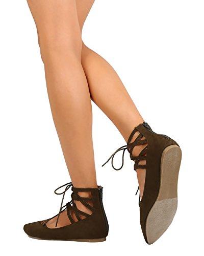 Liliana Dc48 Femmes Daim Gilly Cravate Bout Pointu Zip Ballet Plat - Olive