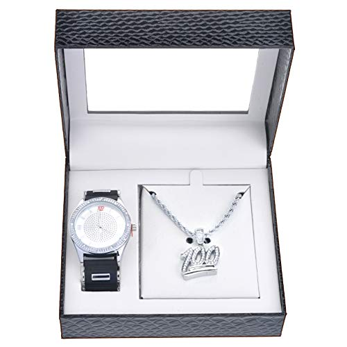 (Men's Rapper Iced CZ Bling Silver Plated 100 Watch Pendant Chain Set WM 8468 S)