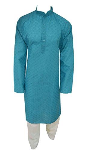 Men's Turquoise fancy chikan Indian Sherwani kurta shalwar kameez for Bollywood theme mehendi UK 754 (48, Turquoise)