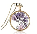 Mujer Trendy lavanda flores secas collar con colgante de vidrio colgantes cadena de metal collar joyas