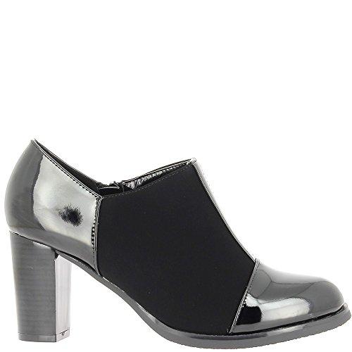 Caviglia stivali donna tacco nero spessore 8cm in pelle e suede look