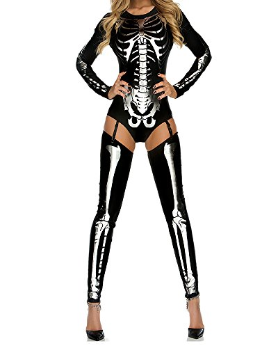 Leotard Cat Costume (Fashion Queen Women's Skeleton Leotard Skull Print Bodysuit Halloween Cosplay Catsuit (One Size, Black-silver))