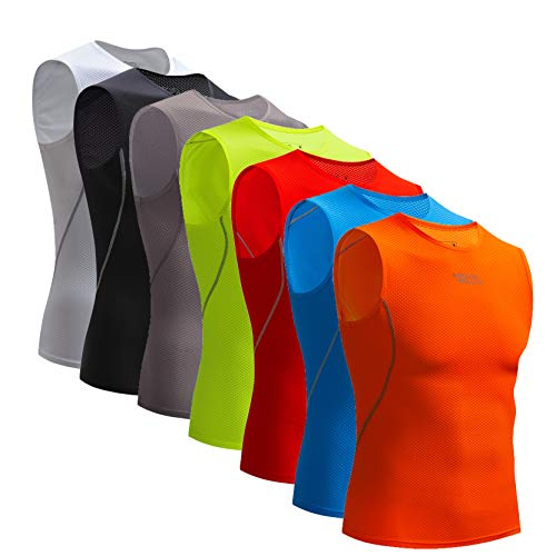 22626ba08 Bpbtti Men's Sleeveless Cycling Base Layer Bike  Undershirt,Breathable,Superlight and Moisture Wicking (1 Pack Orange,  XX-Large)