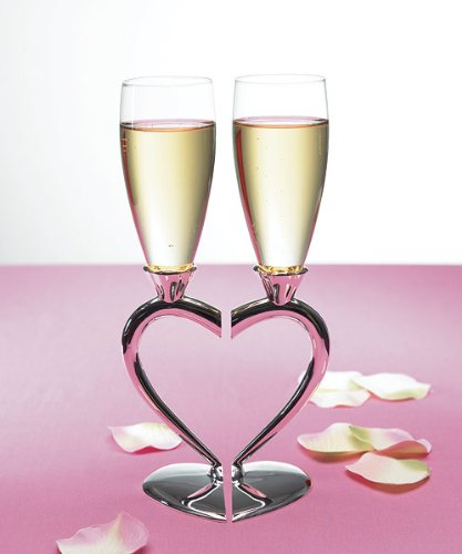 Silver Plated Heart Goblet - Silver Plated Interlocking Heart Stems with Glass Flutes