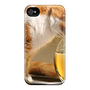 Premium PPUpyKz8403dZmkI Case With Scratch-resistant/ Cat And Fish Case Cover For Iphone 4/4s