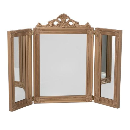 75CM BRONZE 3 MIRROR BEDROOM MAKEUP DESK HOME DRESSING TABLE CHIC VANITY STAND