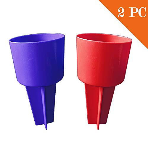 TOGRAND Beach Trip Cup Holder, Travel Drink Sand Coaster, Portable Chair Tray, Keep Sand and Dirt Off Your Water Bottles, Store Small Belongings(2pack) (RED&Blue) (Blue Store Sand)