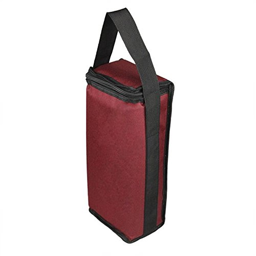 Nylon Cloth Standard Portable Two Bottle Wine Bag with Handle Red Wine PU Leather Gift Box Bottle Opener Pourer Champagne Package (Dark Red)