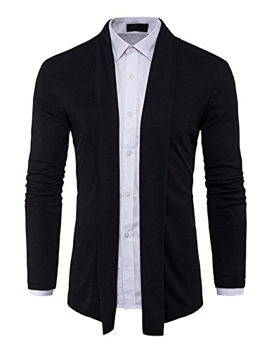 DAVID.ANN Men's Long Sleeve Draped Open Front Shawl Collar Longline Cardigan,Black,Medium by DAVID.ANN (Image #3)