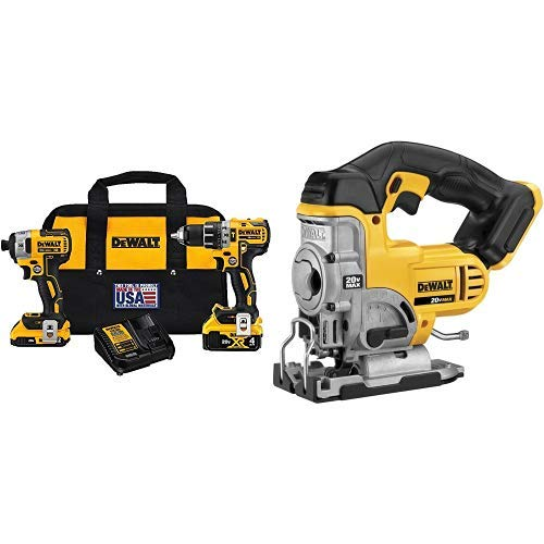 DEWALT DCK287D1M1 20V Cordless Hammerdrill and Impact Driver Combo Kit with DCS331B 20-Volt MAX Li-Ion Jig Saw  (Tool Only) ()