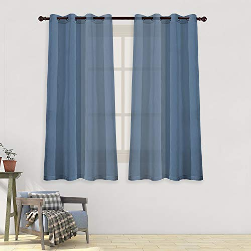 HUTO Grommet Sheer Curtains 63 inches Length for Living Room Faux Linen Voile Drapes Window Treatment Set of 2 Panels,52x63 inch,Dusty Blue