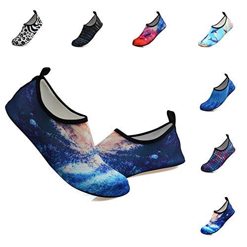 Water Sports Shoes Outdoor Beach Swimming Surf Quick-Dry Aqua Socks Barefoot Yoga Anti-Slip Shoes for Men Women (S: 5.5-6.5 M US Women / 4.5-5.5 M US Men, Galaxy) (Drag Wear)