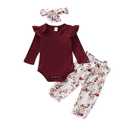 Infant babymeisjeskleding lange mouwen rompertje jumpsuit ruffle bodysuit bloemenbroek outfits met hoofdband 3-delige…