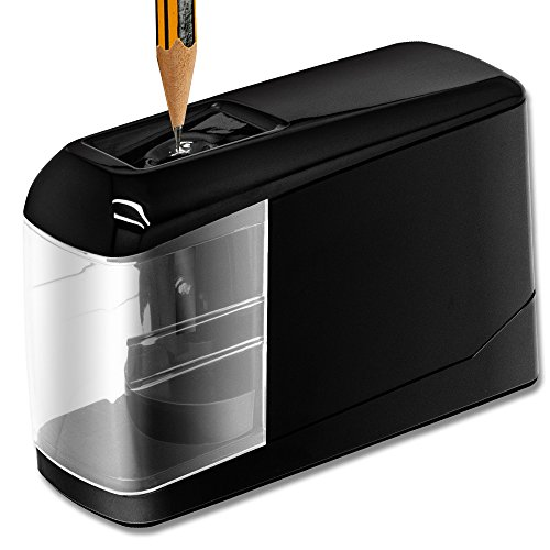 Electric Pencil Sharpener, Lovin Product Durable & Portable Pencil Sharpener; Fast Sharpen, Auto Stop Feature, USB/Battery Powered Pencil Sharpeners for School, Office, Classroom, Black by LOVIN PRODUCT