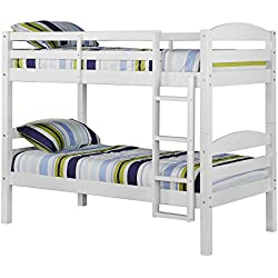 WE Furniture Solid Wood Twin Bunk Bed, White