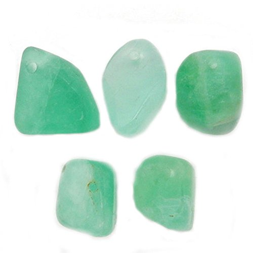 5 pcs Green Calcite Beads-- Tumbled Calcite Beads - Tumbled Stone Side Drilled bead Rock Paradise Certificate of Authenticity (AM2B4-03) (Medium Green Calcite compare prices)